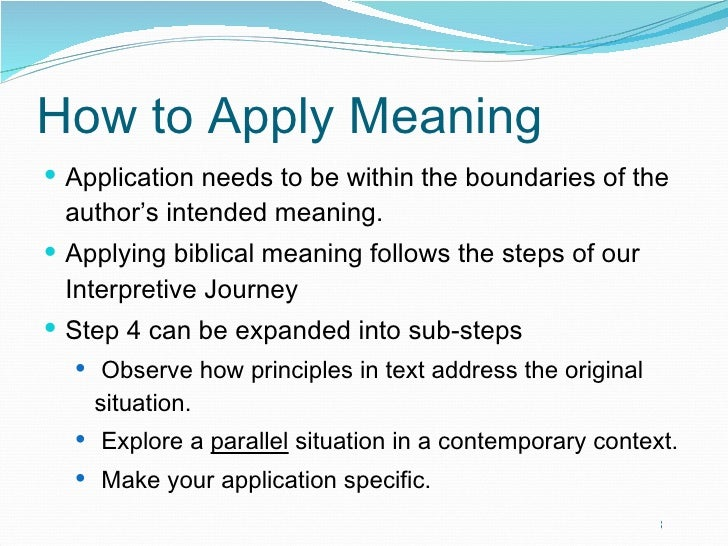 on the application of meaning